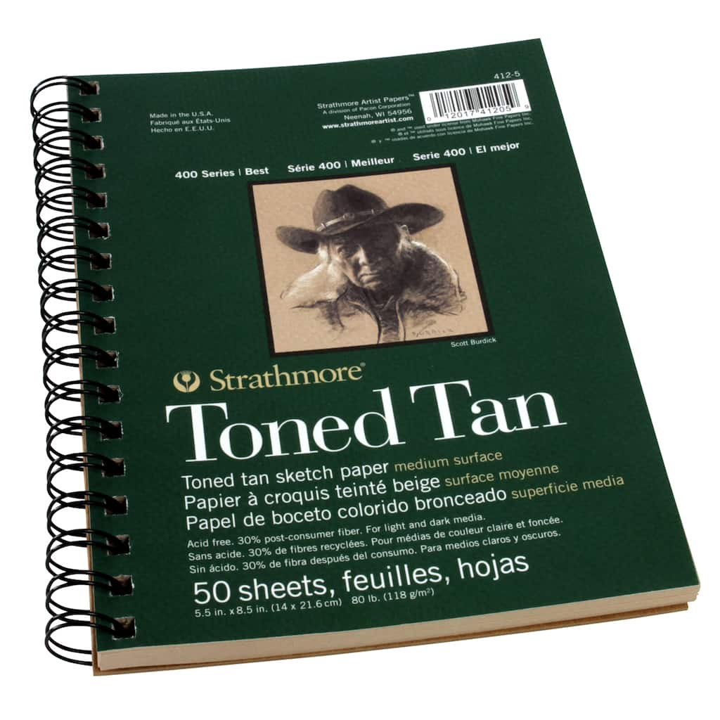 """9/""""x12/"""" Wire Bound Strathmore 412-9 400 Series Toned Tan Sketch Pad 50 Sheets"""