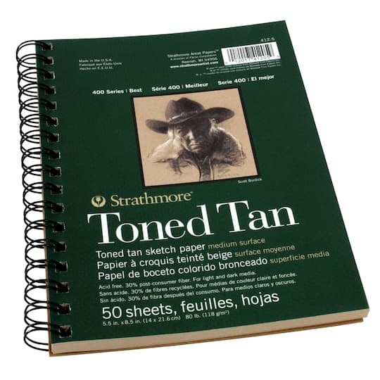 "Image result for photo of a Strathmore Tan Drawing 400 Series Toned Sketch Pad, 5.5""x8.5"", 50 Sheets"
