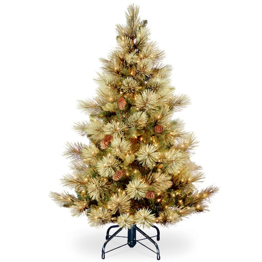 Christmas Tree Stand That Turns: 4.5 Ft. Pre-Lit Carolina Pine Slim Flocked Artificial