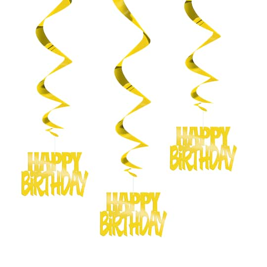 Hanging Foil Gold Happy Birthday Decorations 3ct