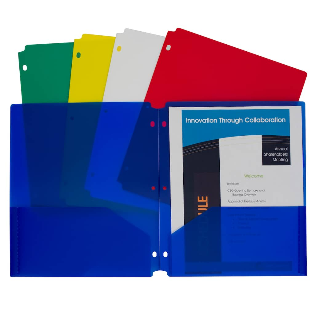 C-Line® Assorted Colors Two-Pocket Heavyweight Poly