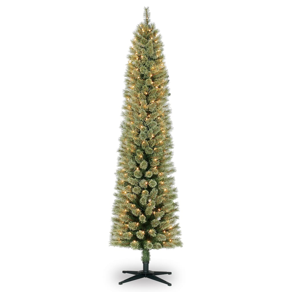 7ft. Pre-Lit Pencil Cashmere Artificial Christmas Tree, Clear Lights ...