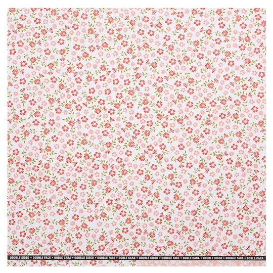 Find The Red Pink Floral Double Sided Scrapbook Paper By