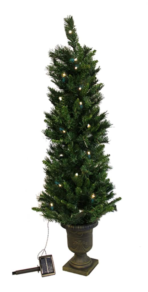 ... Potted Solar Powered Artificial Christmas Tree, Clear LED Lights. img