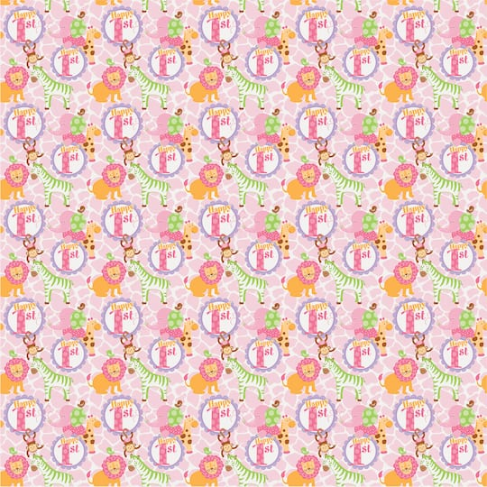 Pink Safari 1st Birthday Wrapping Paper Img