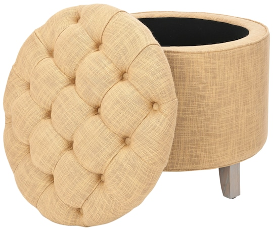 Wondrous Amiela Tufted Ottoman In Gold Customarchery Wood Chair Design Ideas Customarcherynet