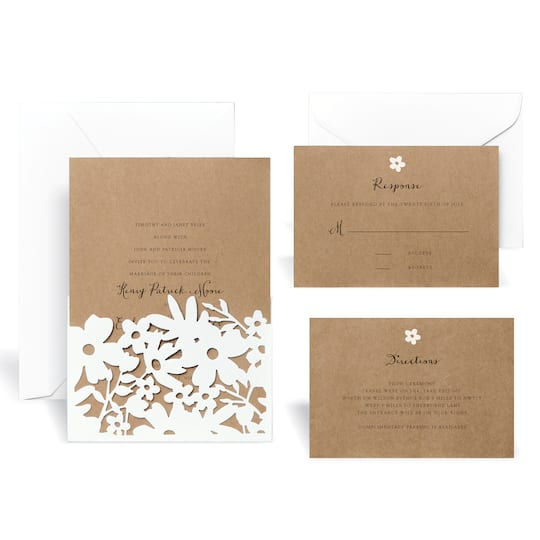 Find The Laser Cut Wrap In Floral Wedding Invitation Kit By