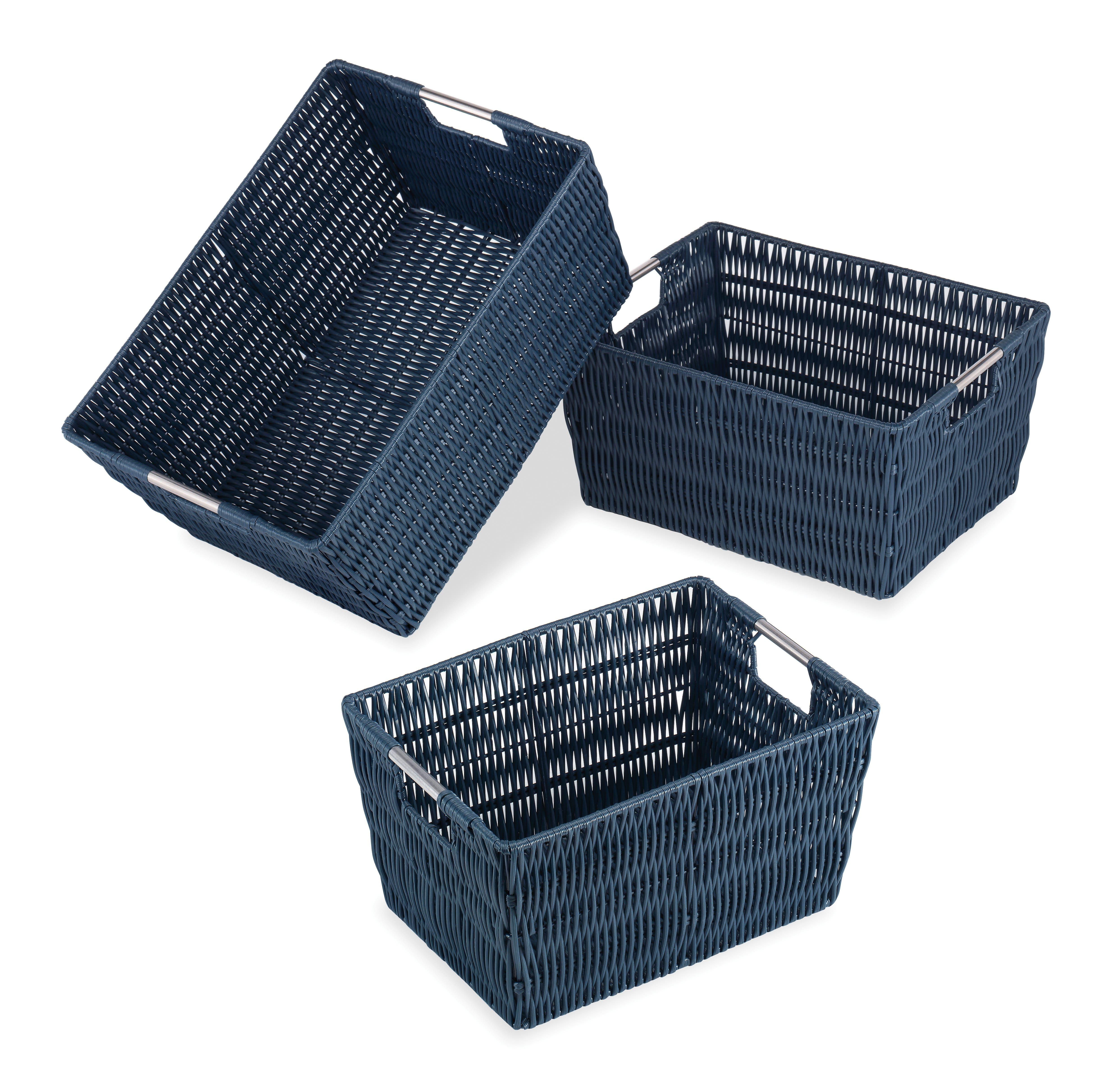 Genial Whitmor Navy Rattique Basket Set. Img