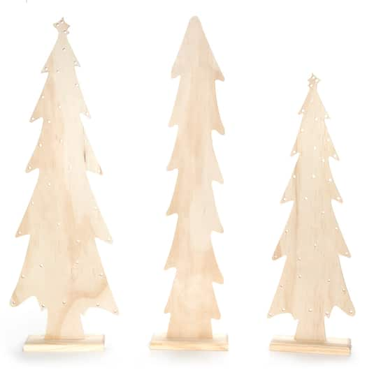 Unfinished Wood Christmas Tree Light Holes 8 X 24 Inches