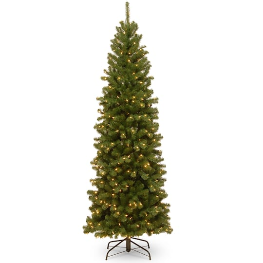 75 ft pre lit hinged north valley spruce pencil artificial christmas tree clear lights