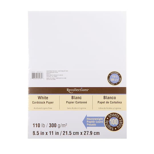 White Heavyweight Cardstock Paper By Recollections 8 5 X 11