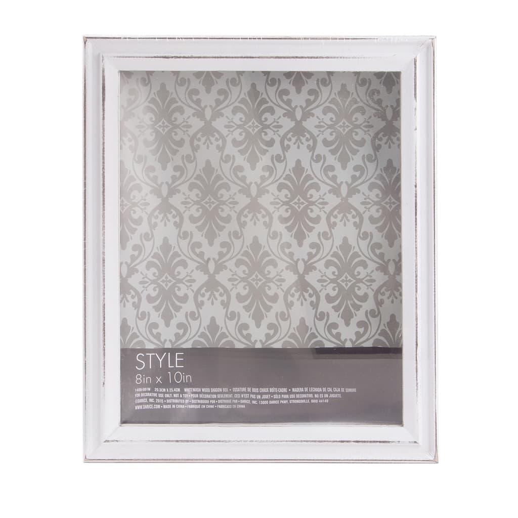 White Shadow Box Frame Whitewashed Wood 8 X 10 Inches