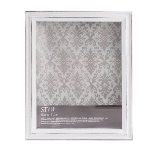 White Shadow Box Frame: Whitewashed Wood, 8 x 10 inches