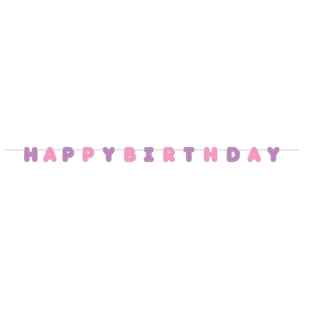 Purple And Pink Happy Birthday Banner