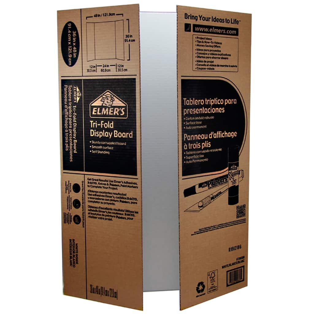 RiteCo 22101 Tri-Fold Display Boards Renewed 48 x 36 White Pack of 24