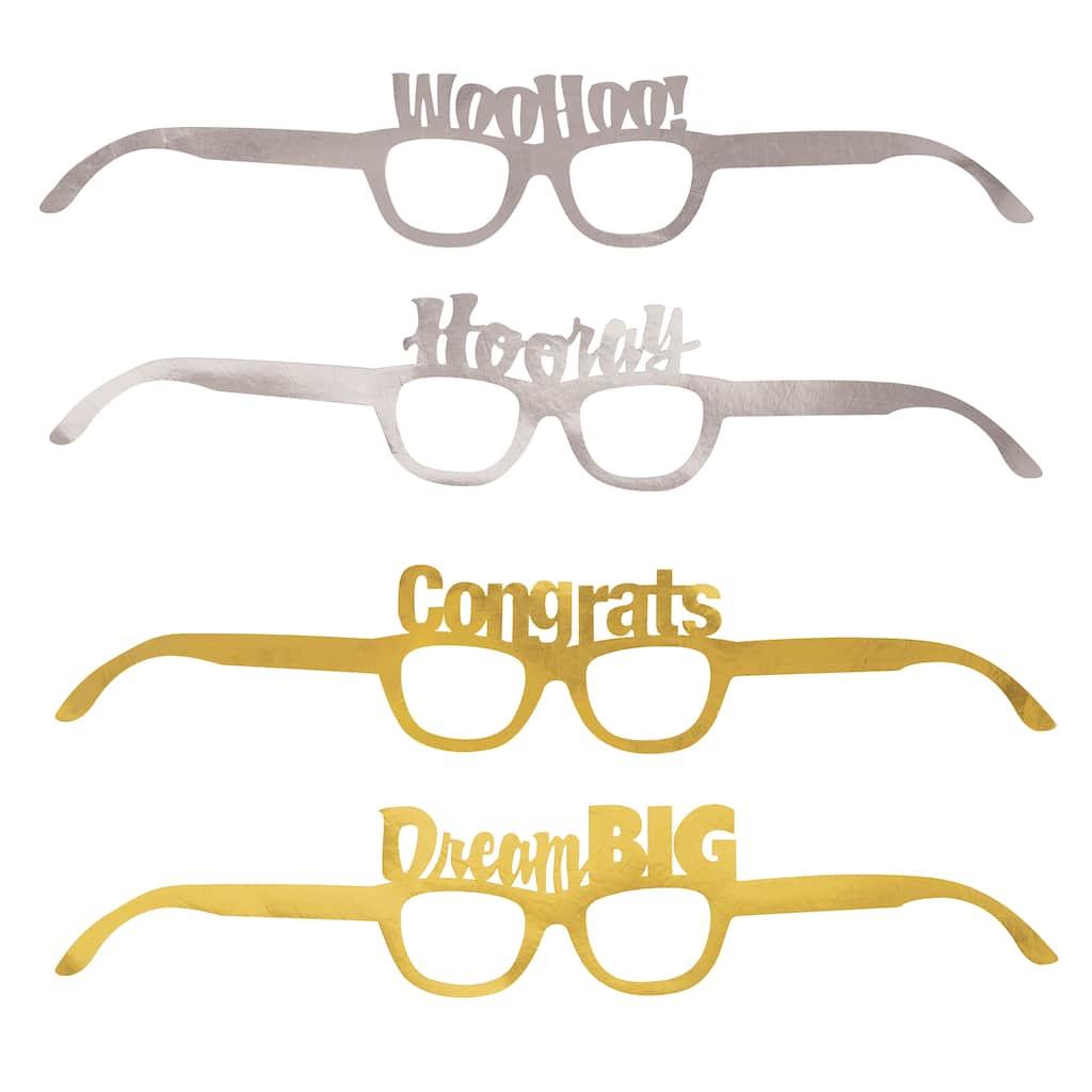 4 Foil Gold /&Silver Party Glasses 2020