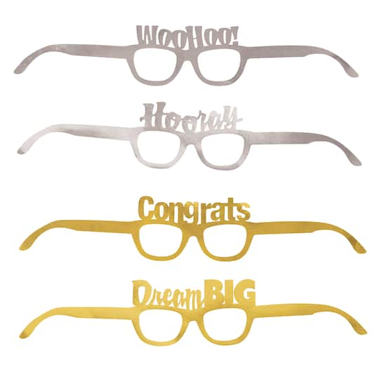 6d26ad968495 Gold and Silver Graduation Novelty Glasses | Graduation Party Favors