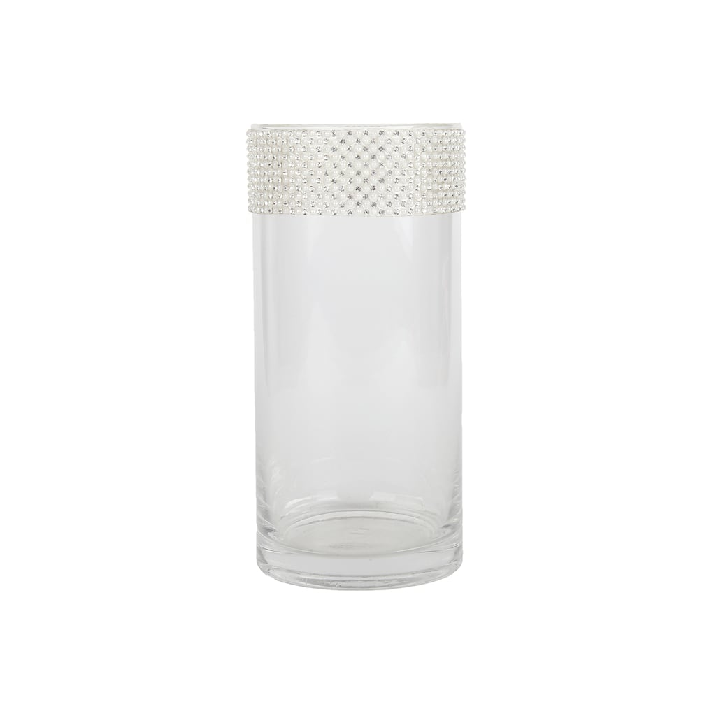 Find The 7 5 Quot Quot Cylinder Glass Vase With Pearl Amp Bling By Ashland 174 At Michaels