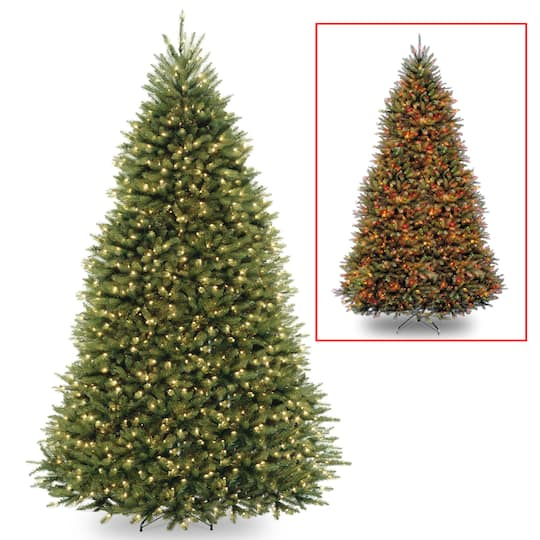 wholesale dealer e476f 986e0 9 ft. Pre-Lit Dunhill® Fir Hinged Full Artificial Christmas Tree, LV Dual  Color LED Lights