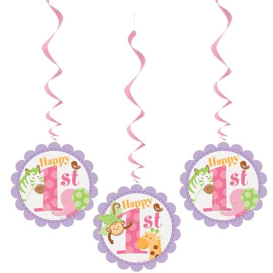 32 Hanging Pink Safari 1st Birthday Decorations 3ct