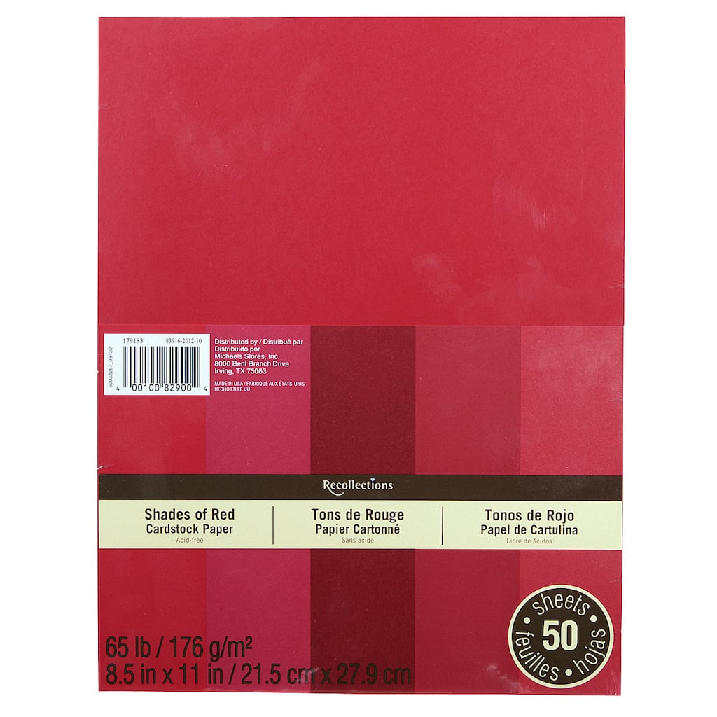 cb7713d893c6 Recollections® Shades of Red Cardstock Paper