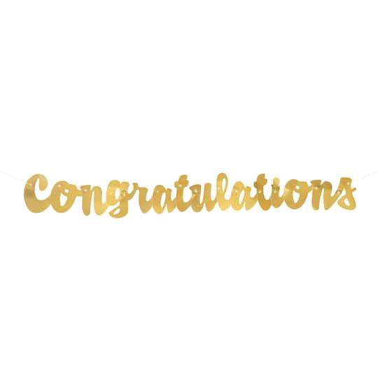 gold cursive congratulations party banner gold party decorations