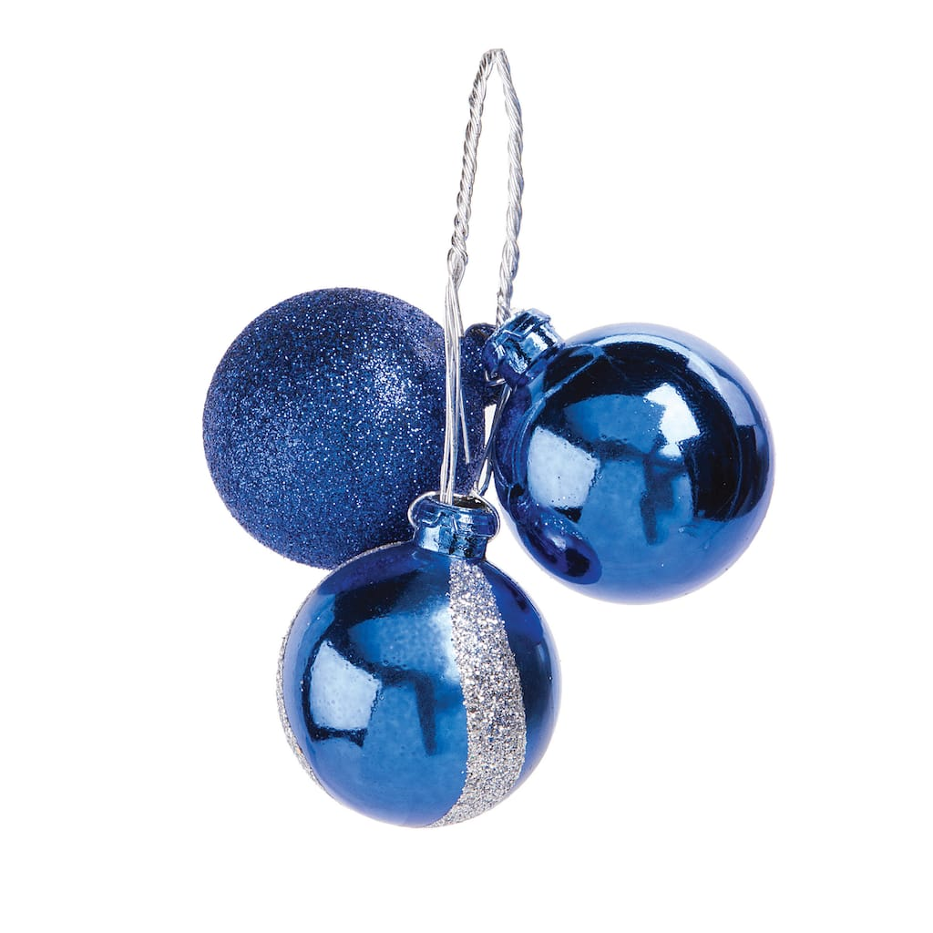 christmas floral picks pick with royal blue wave ornaments img