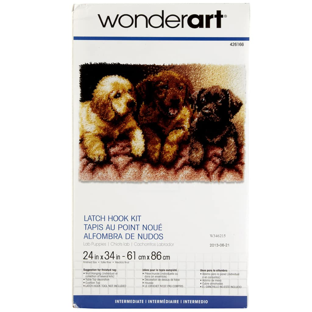 Wonderart Latch Hook Kit Lab Puppies