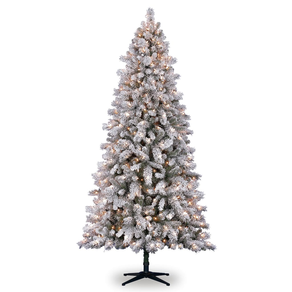 pre lit white vermont full flocked pine artificial christmas tree clear lights by ashland img - How To Fix Pre Lit Christmas Tree Lights