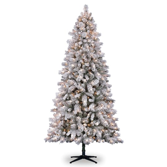 pre lit white vermont full flocked pine artificial christmas tree clear lights by ashland