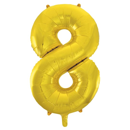 Large Mylar Gold Number 8 Balloon