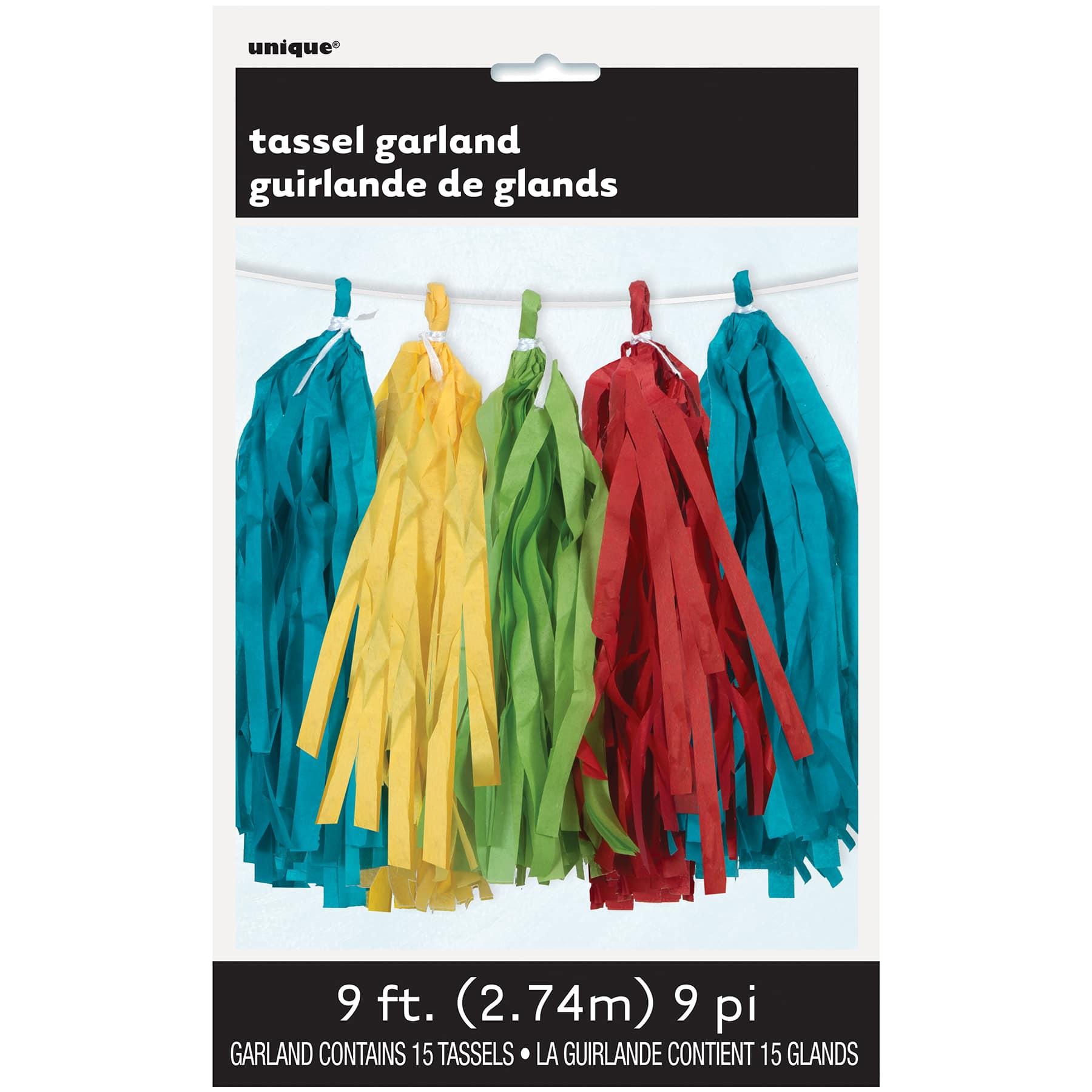 9ft Plastic Blue Tassel Garland