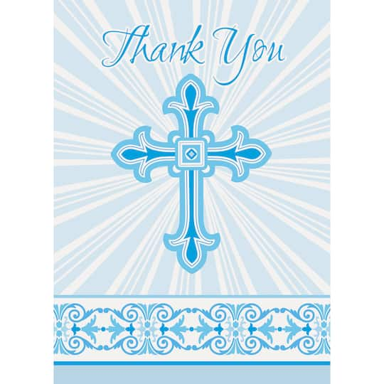 Radiant Blue Cross Religious Thank You Cards First Communion And