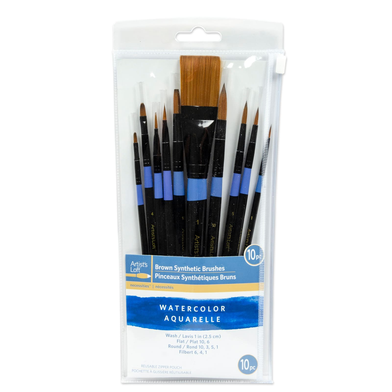Artists Loft Necessities White Synthetic Flat /& Round Brushes