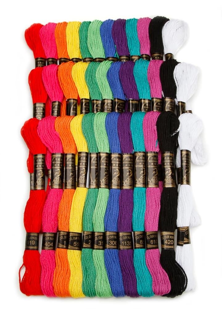 Cotton Embroidery Floss Rainbow Colors 36 Pack