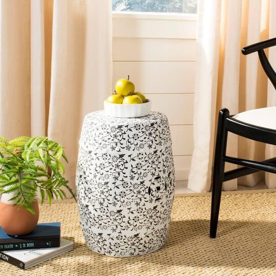 Tremendous Flower And Vine Garden Stool In White Charcoal Creativecarmelina Interior Chair Design Creativecarmelinacom