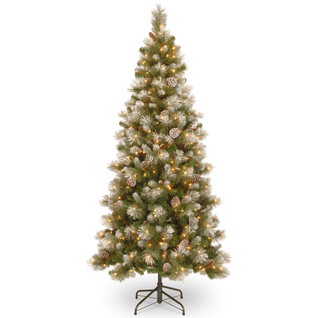 pre lit snow capped mountain pine slim artificial christmas tree clear lights img - Michaels Christmas Trees Pre Lit