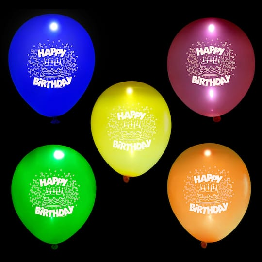 10 Happy Birthday LED Light Up Balloons Assorted 5ct