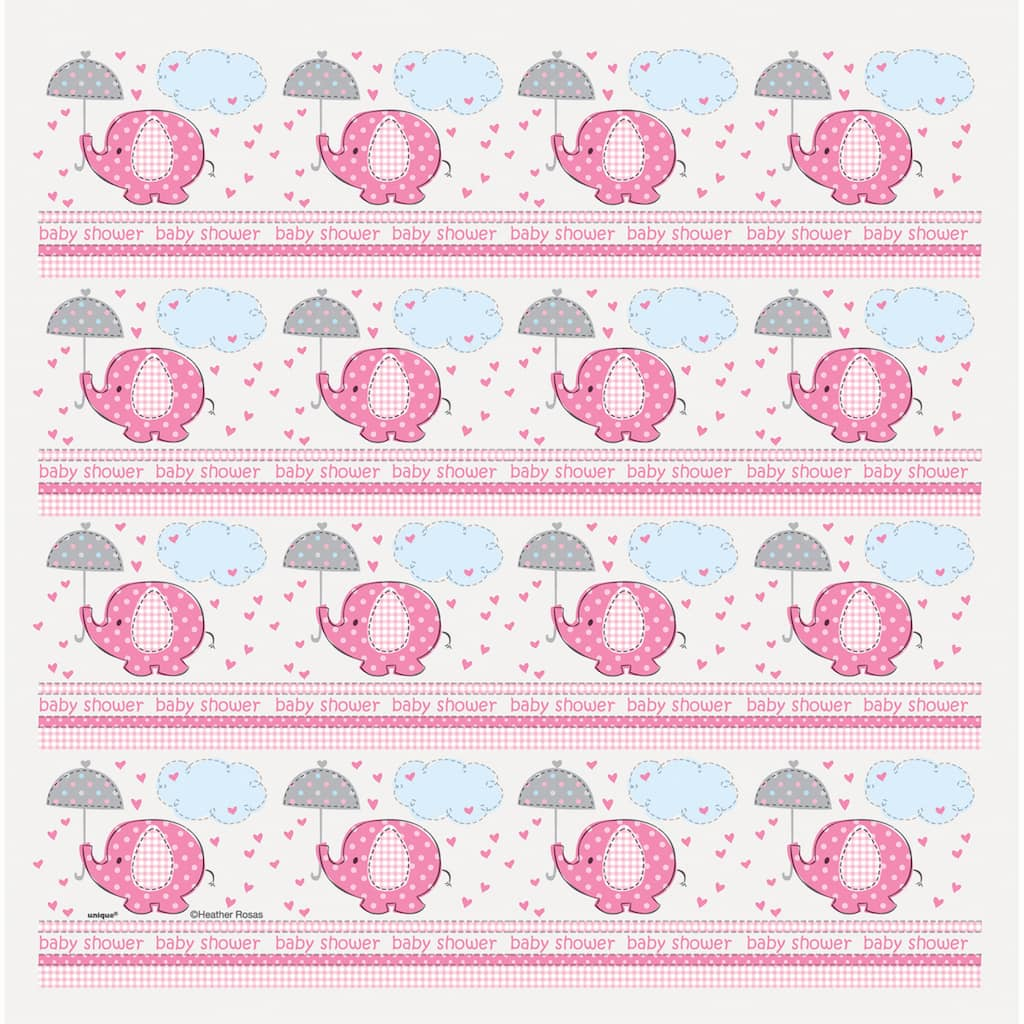 Pink Elephant Baby Shower Wrapping Paper