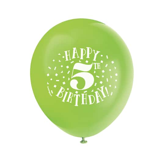 12 Latex Fun Happy 5th Birthday Balloons Assorted 8ct