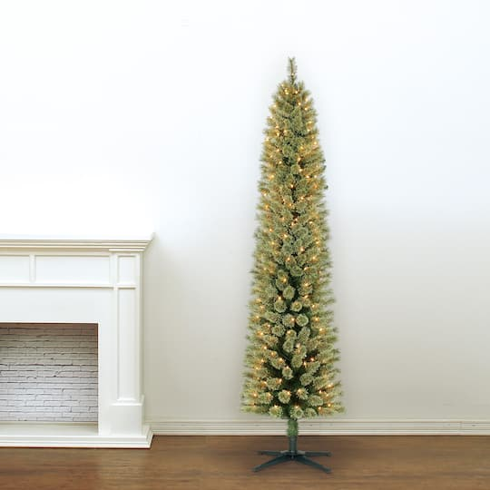 img img img img ... - 7ft. Pre-Lit Pencil Cashmere Artificial Christmas Tree, Clear Lights