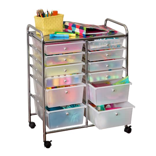 Rolling Storage Cart With 12 Drawers Img