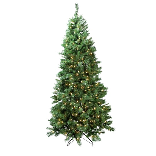 7 ft pre lit single plug slim glacier artificial christmas tree multi function led lights