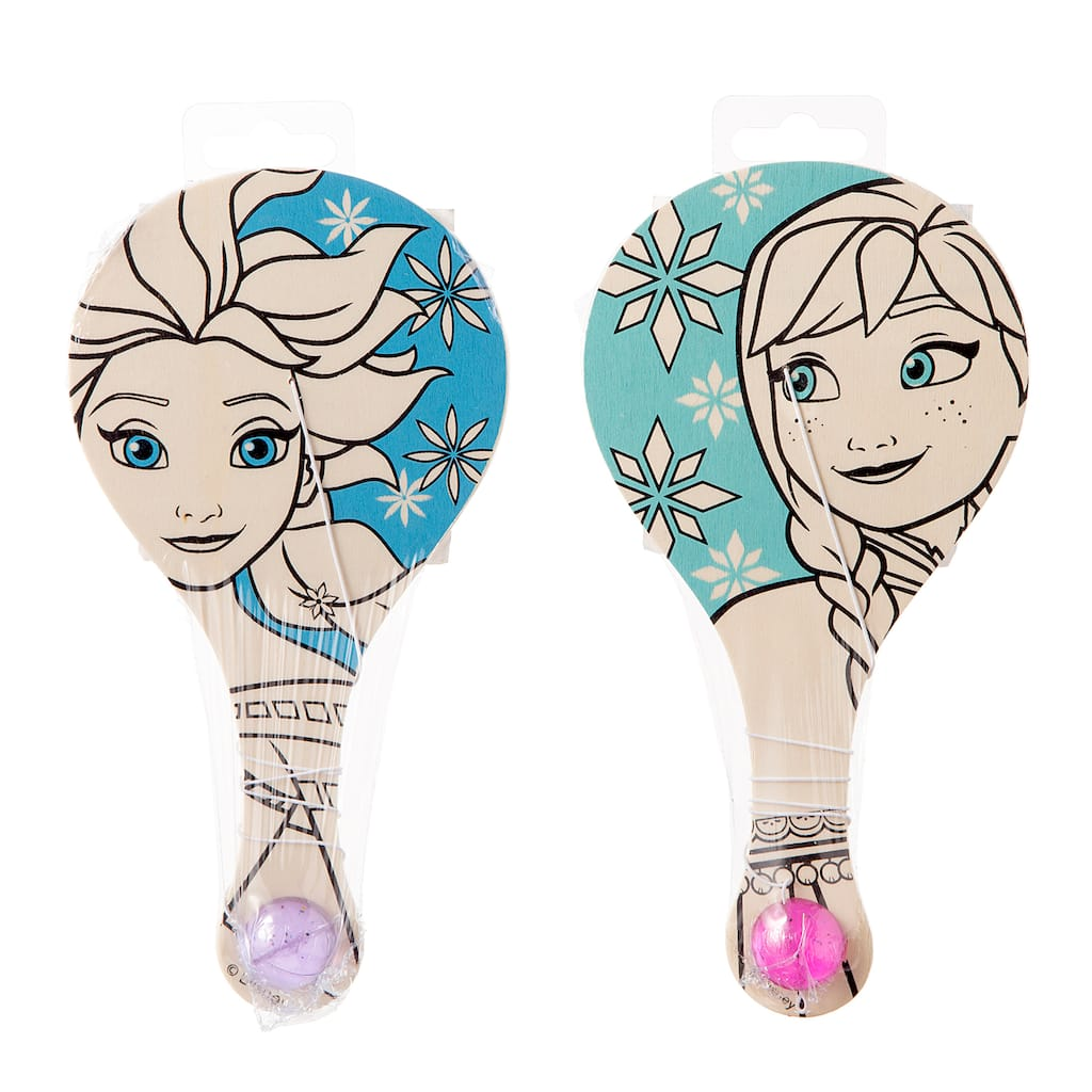 Find the ©Disney Color-In Wood Paddleball, Frozen at Michaels