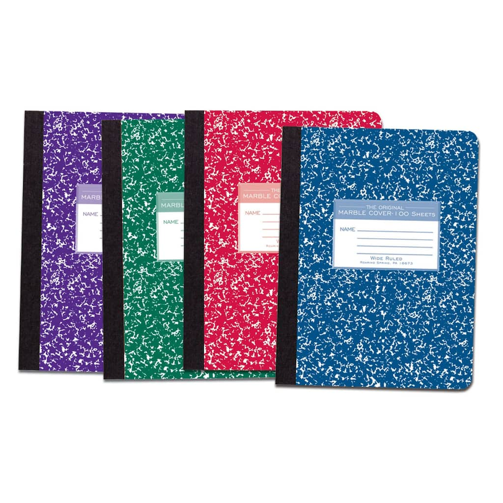 Assorted Colors Marble Composition Book Pack Of 6