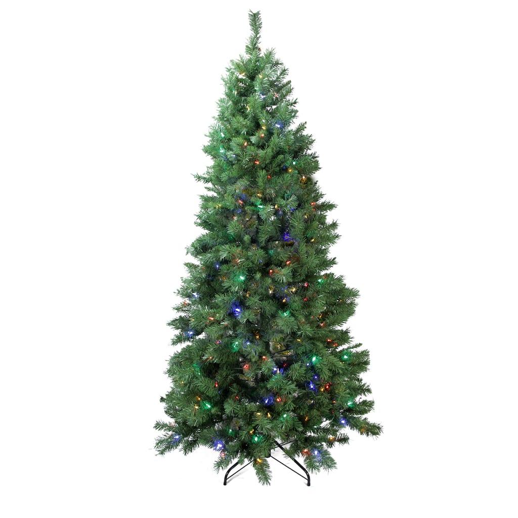 Pre Lit Single Plug Slim Glacier Artificial Christmas Tree Multi Function Led Lights Img