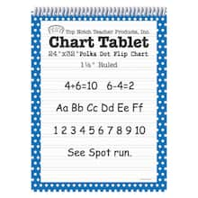"24"" x 32"" Bright Blue Polka Dot Chart Tablet, 1.5"" Ruled"