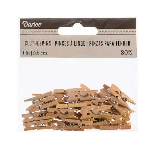 Darice 25 X 1 Mini Decorative Natural Wood Clothespins 30 Pack