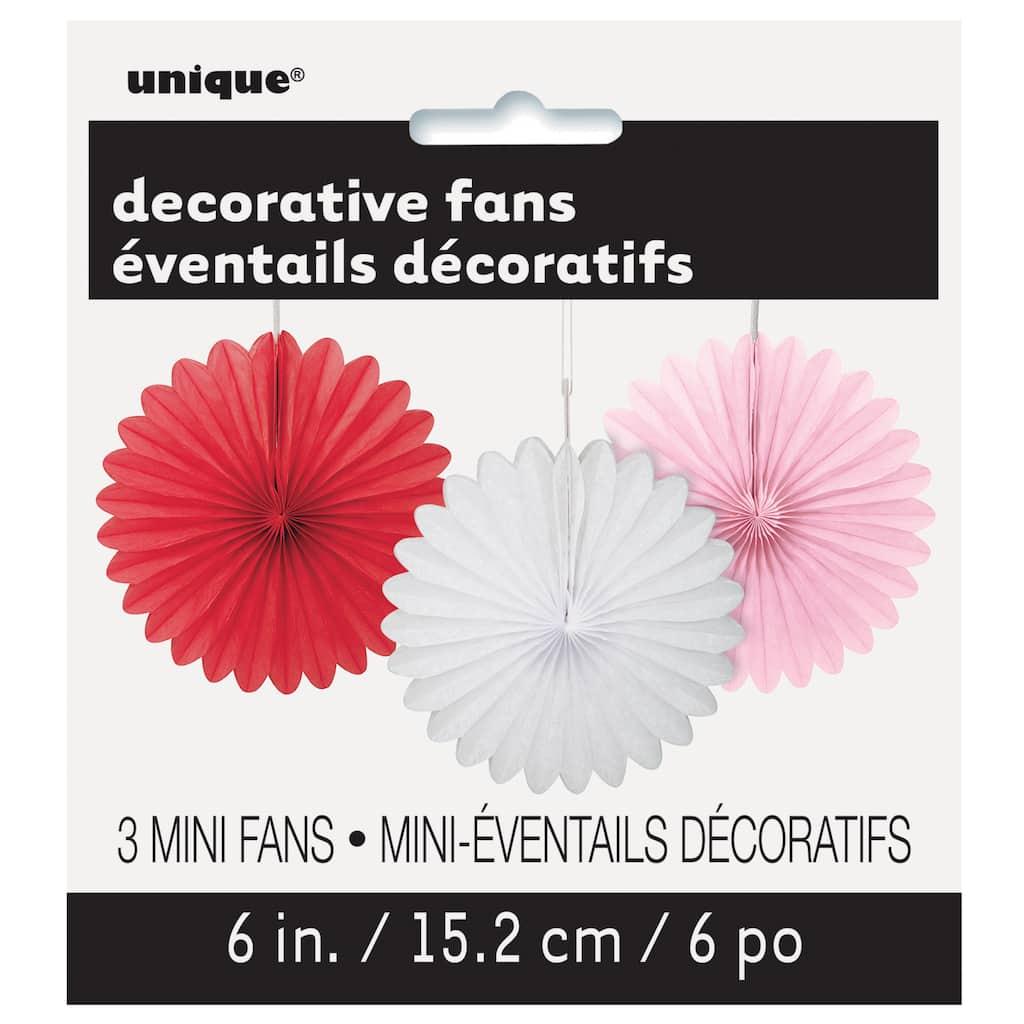 Mini Valentine Tissue Paper Fan Decorations   Valentines Party ...
