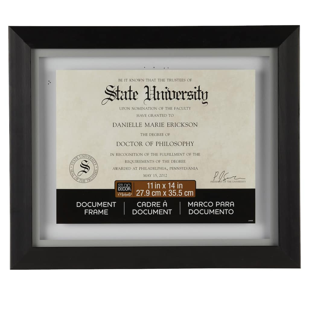 Black Wood Document Float Frame 11 X 14 By Studio Décor